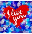 heart i love you colorful paint splash background vector image vector image