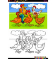 hens and roosters characters group color book vector image vector image