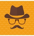 Hipster face silhouette in flat style vector image