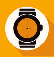 icon wristwatch on white circle with a long shadow vector image vector image