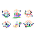 insurance isolated icons medical life and vector image