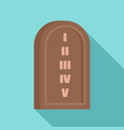 jewish stone tablet icon flat style vector image