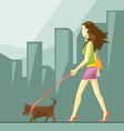 Lady in green and pink clothes and red shoes vector image