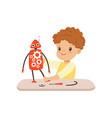 little boy creating smart robot robotics and vector image vector image