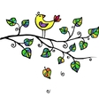 little yellow bird in leaves vector image vector image