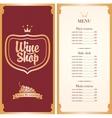 Menu for wine shop