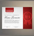 modern clean red and white certificate design vector image vector image