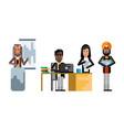 multiethnic business team working in office vector image vector image