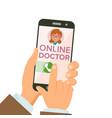Online doctor app hands holding smartphone