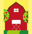 red farm barn wooden building and trees fruits vector image vector image