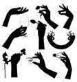 set black silhouettes female hands vector image