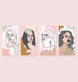 set four modern abstract girl faces vector image vector image