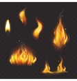 set realistic flame tongues isolated on a dark vector image