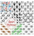 Sport balls and items seamless patterns set vector image