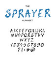 sprayer brush style font alphabet typeface vector image