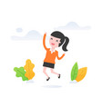 successful woman jumping and smile vector image vector image