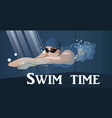 swimmers in competition swim sport vector image vector image