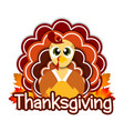 thanksgiving greeting design with turkey vector image vector image