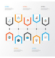 trade flat icons set collection of hierarchy id vector image vector image