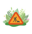 under construction sign with man digging ground in vector image vector image