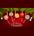 christmas and happy new year with candy vector image