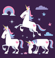 unicorn cartoon set 2 vector image