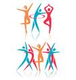 fitness dance women icons vector image