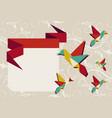 Origami hummingbird group greeting card vector image
