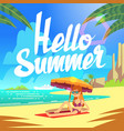 summer holiday background with sea beach vector image