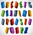 3d font colorful glossy letters vector image vector image