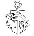 a draw anchor and fish vector image