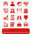 american business womens day icon set vector image