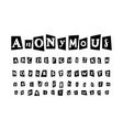 anonymous letter set for secret message and vector image