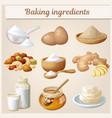 baking ingredients cartoon icons set