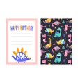 birthday party card template invitation greeting vector image vector image