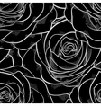 black and white seamless pattern in roses contours vector image vector image