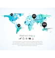 blue triangle world map with tags points vector image vector image