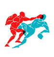 boxing match silhouette of two professional boxer vector image