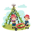 boy and girl picking vegetables vector image vector image
