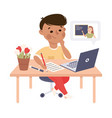 boy studying from home via teleconference using vector image