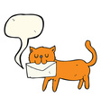cartoon cat carrying letter with speech bubble vector image vector image