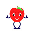 cartoon character with a red apple vector image