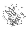 cassette with crown and rainbow black and white vector image