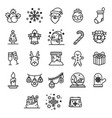 christmas icon thinline set on white background vector image vector image