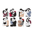 collection of romantic couples isolated on white vector image vector image