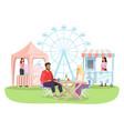 couple at summer fun fair outdoor cafe flat vector image vector image