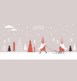 cute gnomes in red hats sledding vector image