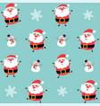 cute santa and snowman pattern background vector image