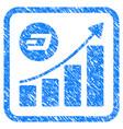 dash growing trend framed stamp vector image vector image