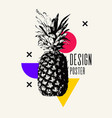 fashionable modern poster with pineapple summer vector image vector image